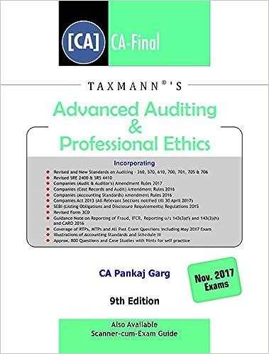 Advanced Auditing & Professional Ethics (CA-Final) (November 2017 Exams)
