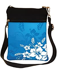 Snoogg Abstract Vector Wallpaper Of Floral Themes In Blue Cross Body Tote Bag / Shoulder Sling Carry Bag