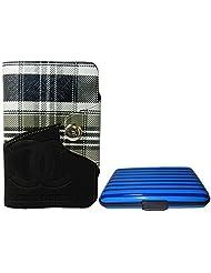 Apki Needs Long Black Mens Wallet & Striped Blue Colored Credit Card Holder Combo