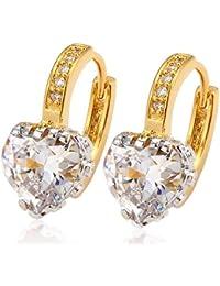 Via Mazzini Gold Plated AAA Swiss Cubic Zirconia Designer Heart Earrings For Women (ER0786)