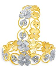 ESHOPITUDE FLORAL CZ AMERICAN DIAMOND GOLD PLATED BANGLES SET FOR WOMEN 2.8