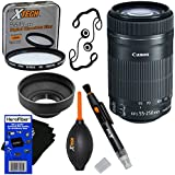 Canon EF-S 55-250mm F4-5.6 IS STM Lens For Canon SLR Cameras (International Version) + 7pc Bundle Accessory Kit...