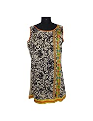 ADS Womens Digital Print Beige Black Kurti/Tunic(ADS42)