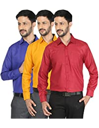 Mark Pollo Cotton Rich Fabric With Linen Look Slim Fit Formal And Semi Formal Shirts For Men (Pack Of 3) (Blue...