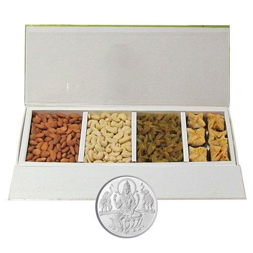 Chocholik Belgium Chocolates - Heavenly Treat Of Almonds, Cashew, Raisin And Baklava Box With 5gm Pure Silver...