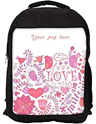 """Snoogg Your Text Here White Pattern Casual Laptop Backpak Fits All 15 - 15.6"""" Inch Laptops"""