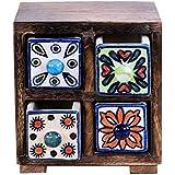 Craftgasmic Wooden Cabinet With Multipurpose 4 Ceramic Drawers