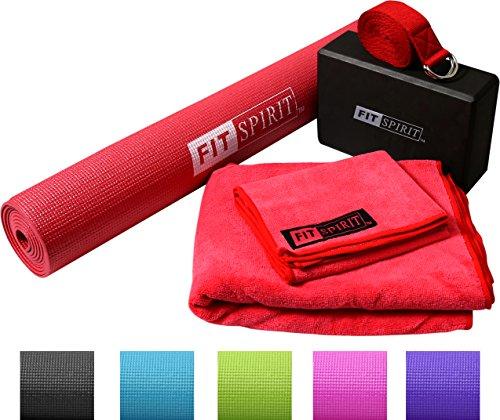 """Fit Spirit Red Yoga Starter Set Kit - Includes 3mm 1/8"""" Inch"""