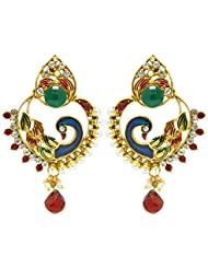 Peora Traditional Peacock Mina Danglers For Women