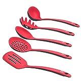 Levivo Silikon Küchenhelfer-Set / 5-teiliges Küchenbesteck-Set, bestehend aus Pfannenwender, Schaumlöffel, Suppenkelle, Spagettilöffel, Soßenlöffel, rot/schwarz