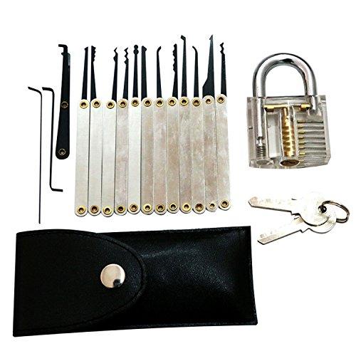 SUNNOW® Professionelle Lockpicking und 12-teiliges Pick-Set Sichtbar Übungschloss Vorhängeschloss Praxis Hangschloss mit Schlüsseln (Silbern) - 2