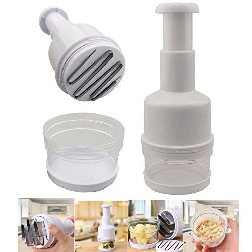 Inovera Universal Kitchen Pressing Vegetable Onion Garlic Chopper Cutter Slicer, White