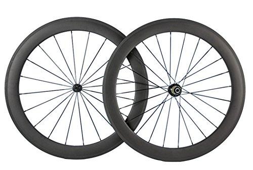 Queen Bike 700c 60mm 3k Superlight Carbon Clincher Wheelset Cycling Racing Wheels 20/24h (Shimano Body)