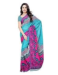 Indian Wear Sky Blue & Pink Renial Denting Georgette Printed Saree