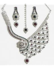 DollsofIndia White, Maroon Amd Green Stone Studded Necklace And Earrings - Stone And Metal - White
