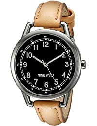 Nine West Women's NW/1699GNTN Easy To Read Dial Gunmetal And Tan Strap Watch
