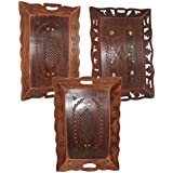 Frabjous Wooden Serving 3-pcs Tray Decorative Handcarved Rosewood Snack Or Coffee Tray.
