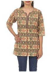 Rajrang StyLish Hand BLock Printed Short Cotton Kurta Top Tunic Size L
