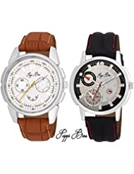 Pappi Boss Pack Of 2 Leather Strap Analog Men's Wrist Watch