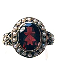 P D Diamonds Red Color Garnet And Pearl Gemstone Vintage Look Ring For Womens In Silver 925