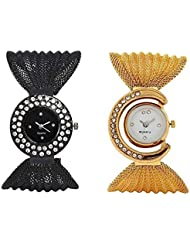 M-Mart Black & Golden Analogue Black & White Dial Fancy Jaal Watch For Women Pack Of 2