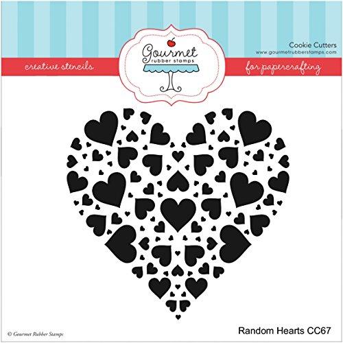 Gourmet Rubber Stamps Random Hearts Stencil, 6 x 6