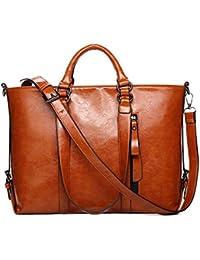 Di Grazia Women's Italian Tote Satchel Handbag (Brown, Brown-Zip-Tote-Leather-Handbag)