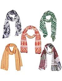 Weavers Villa Set Of 5 Premium Soft Summer Vibrant Coloured Trendy Scarf, Stoles, Dupattas
