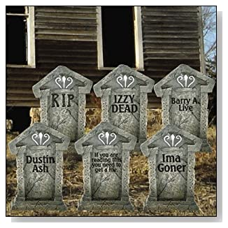 Halloween Yard Signs with Fake Tombstones