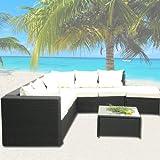 SSV - XINRO® Deluxe Lounge Garnitur Polyrattan Sitzgruppe Gartenmöbel - handgeflochten - schwarz - SSV - solange der Vorrat reicht!
