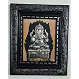 Laps Of Luxury - Ganesha God Idol Shining Black And Golden Color Wall Hanging Glass Photo Frame(12x10 Inches)