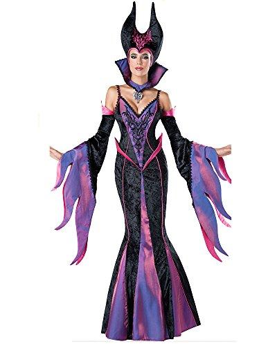 Halloween 2017 Disney Costumes Plus Size & Standard Women's Costume Characters - Women's Costume CharactersFashion Queen Purple Maleficent Witch Halloween Costume Dark Sorceress Deluxe Dress