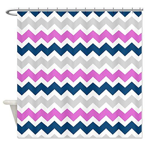 Blue Pink Grey Chevron Stripes
