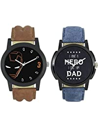 Rage Enterprise New Fashion 0004-0007 Fast Selling 2 Combo Branded Leather Analog Watch - For Boys And Men Analog...