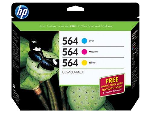 Hp 564,  3-Pack Cyan/Magenta/Yellow Original Ink W/Photo Pap