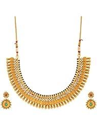 SKJ Golden Copper Strand Necklace Set For Women (601)
