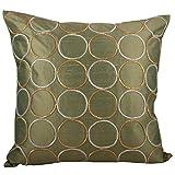 Svisti Raw Silk Single Piece Cushion Cover-Olive, 40.64 Cm X 40.64 Cm
