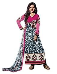 Mantra Fashion Multicolor Cotton Fabric Floral Resham Thread Embroidery Work Straight Salwar Kameez