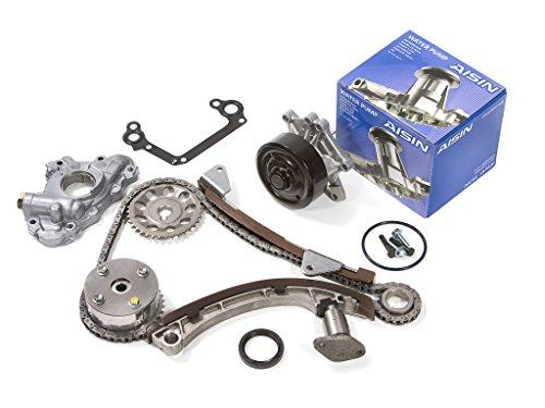 Evergreen TK2024LGWOPA Toyota Chevrolet Pontiac 1ZZFE Timing Chain Kit w/ Oil Pump AISIN Water Pump (with VVTi Gear)