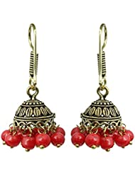 Waama Jewels Multi Color Pearls Gold Plated Oxidised Jhumki Earring For Women And Girl
