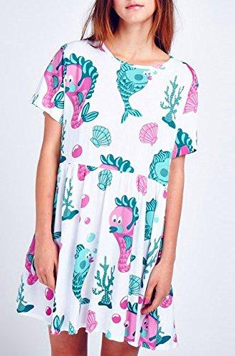 (レイジーオーフ) Lazy Oaf ワンピース魚柄/フィッシュ柄カジュアルドレス/Under the Sea Dress SMサイズ [並行輸入品]