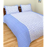 Geonature Blue Colour Cotton Double Bed Sheet With 2 Pillow Cover (G1BED-180)