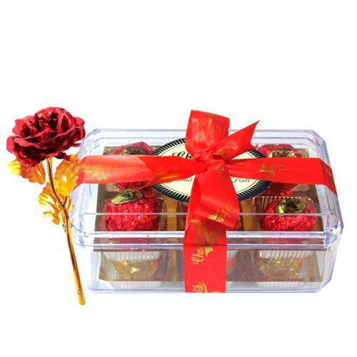 Exotic Flavours Of Chocolates With 24k Red Gold Rose - Chocholik Luxury Chocolates