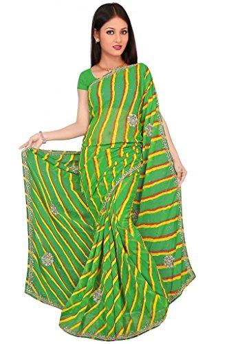Kala Sanskruti Chiffon And Art Silk Bandhej Design Saree With Work - B00L18QXBU