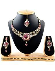 REEVA BEAUTIFUL BRIDAL NECKLACE SET WITH AISTRIAN DIAMOND WITH MAANG TIKKA