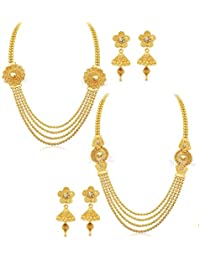 YouBella Jewellery Gold Plated Combo Of Two Necklace For Girls Fashion Party Wear Jewellery Set With Earrings... - B074WCDD2J