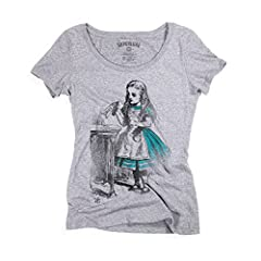 Superluxe™ Womens Drink Me Vintage Alice in Wonderland Tri-Blend T-Shirt, Large, Premium Heather