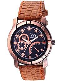 Watch Me Analog Black Multi Brown Leather Black Watch For Boys WMAL-247-B