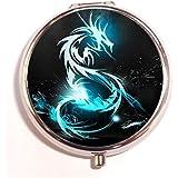 Abstract Dragons Fantasy Art Digital Art Round Fashion Pill Box Medicine Tablet Holder Organizer Case For Pocket...