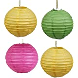 Skycandle 18 Inch Multicolor Coloured Round Paper Craft Hanging Lights Pack Of 4
